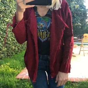 Lucky Brand distressed Linen Like Red Moto Jacket